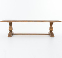 """Natural Reclaimed Wood Trestle Dining Table 110"""""""