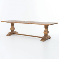 Natural Rustic Reclaimed Wood Trestle Dining Table 110""