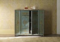 Hand-Painted Elm Cabinet-Aqua
