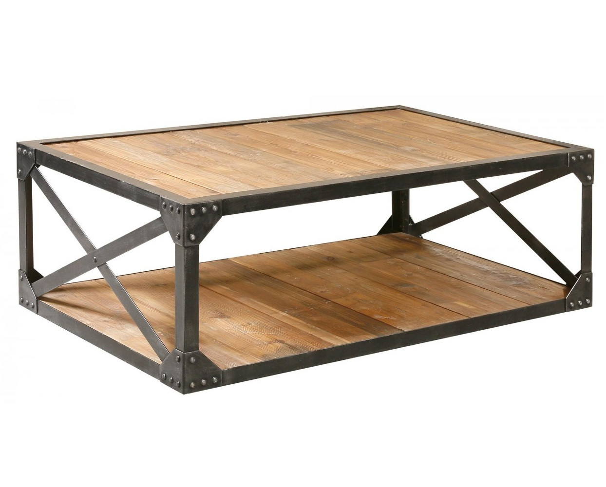 Industrial metal and wood coffee 51 table rectangular Wood and steel furniture