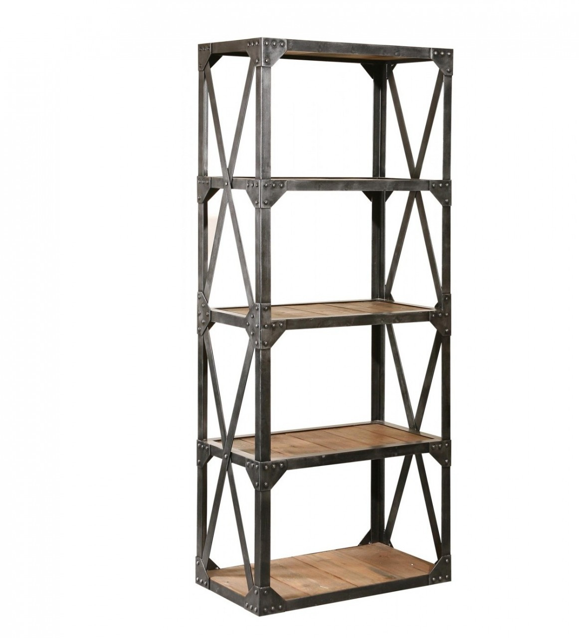Industrial Reclaimed Narrow Bookcase Zin Home Salvaged Wood