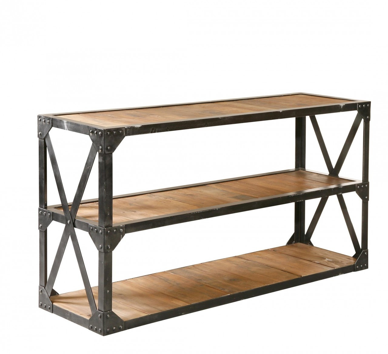 Industrial reclaimed console table 63 wood and metal for Metal and wood console tables