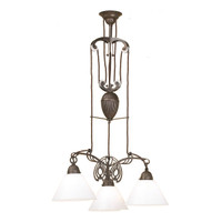 Nouveau 3-Light in Aged Brass