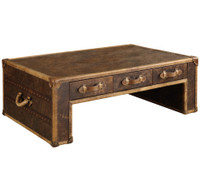 Vintage Steamer Trunk Coffee Table with 3 Drawers