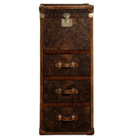 Vintage Steamer Tall Chest -Vintage Cigar Leather