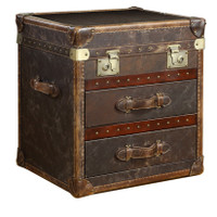 Vintage Steamer Side Table with 2 Drawers Cigar Leather