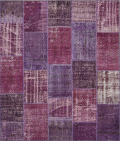 Turkish Patchwork Rugs- Aubergine