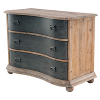 Bowfront 3 Drawer Chest with Metal Drawers