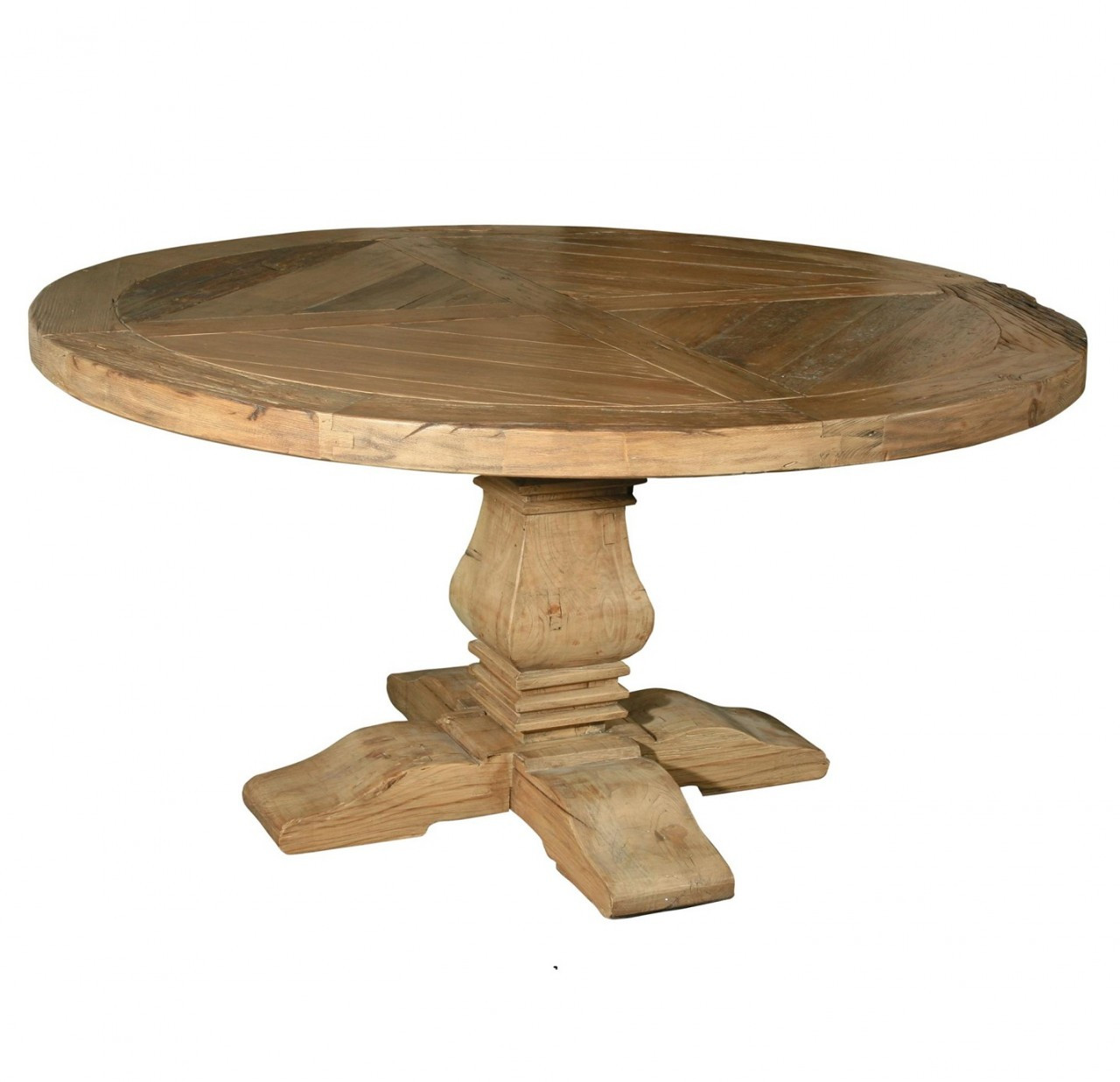 Pedestal 60 round dining table reclaimed wood round for Round wood dining room table