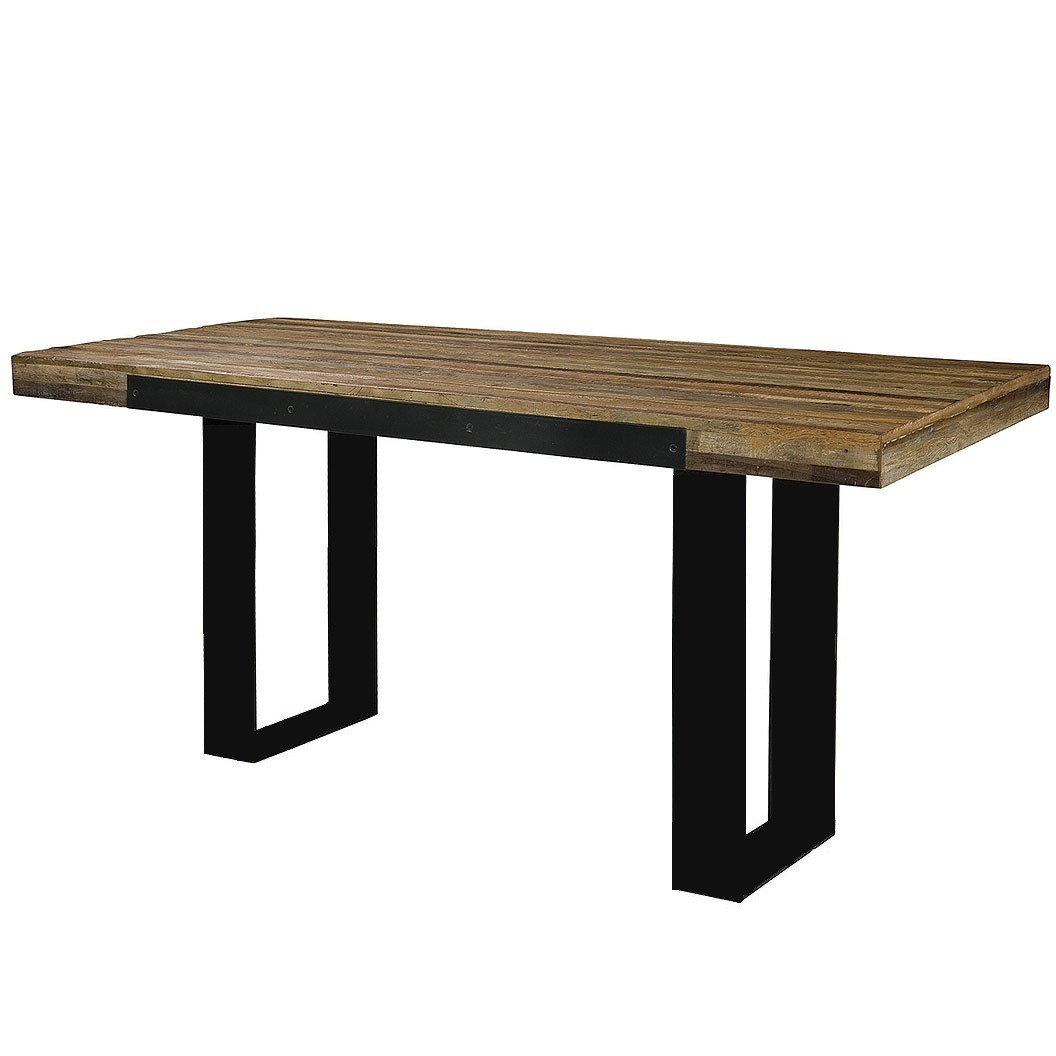 industrial pub table reclaimed wood top metal base bar. Black Bedroom Furniture Sets. Home Design Ideas