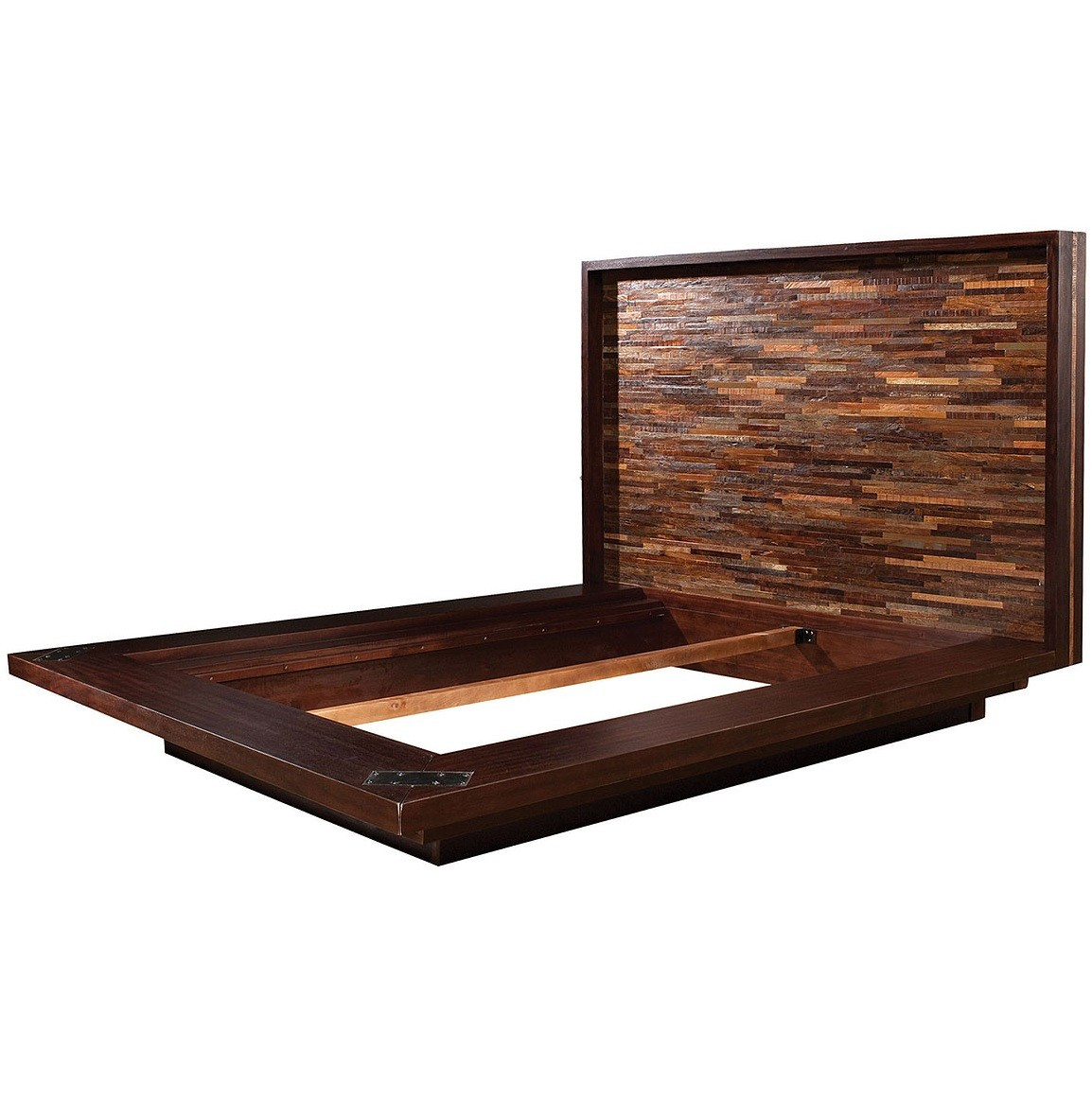 Devon reclaimed wood queen platform bed frame zin home Wood platform bed
