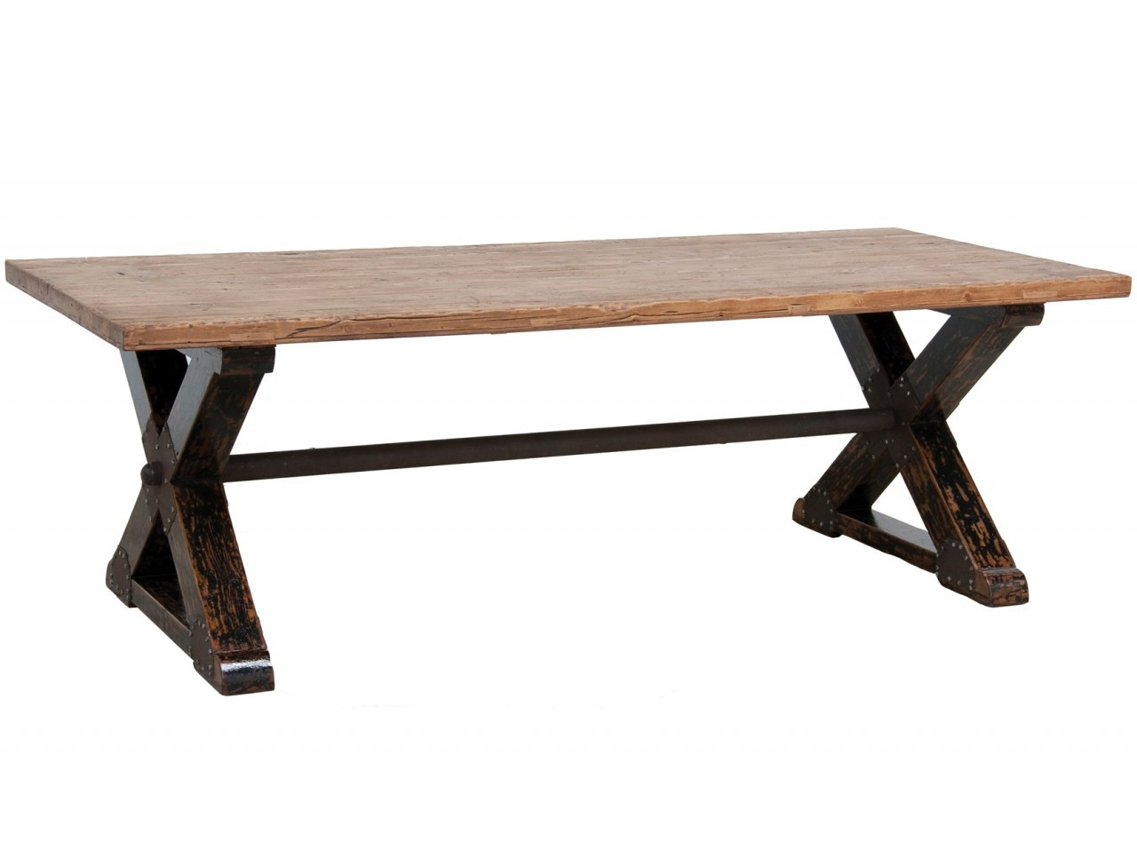 Kira Dining Table 94 X Base Industrial Solid Wood Dining Table Zin Home