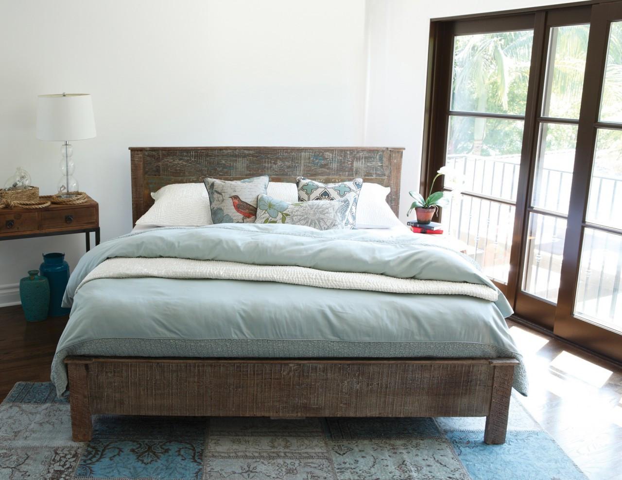 Rustic Wood King Bed Part - 46: Hampton Rustic Teak Wood King Bed Frame