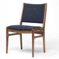 Bina Side Chair-Dark Blue Canvas with Walnut arms