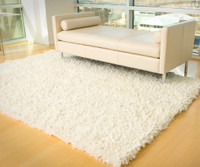 Fleece with Angel Hair Rug-White