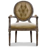 Louis Round Arm Chair- Tufted Hemp