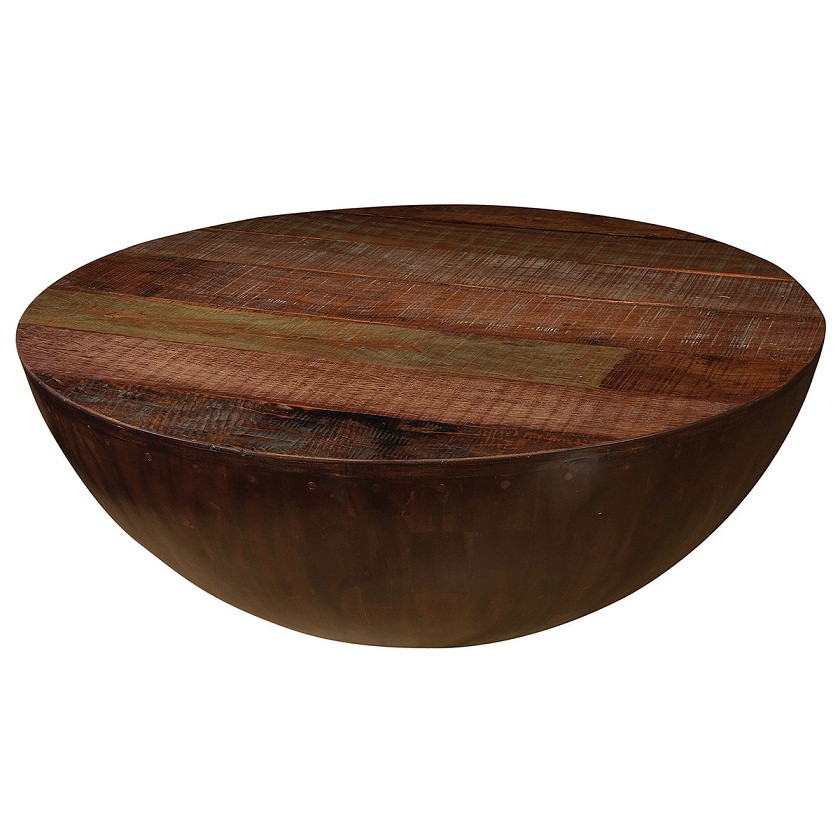 Solid Wood Curved Coffee Table: Rustic Ryan Round Coffee Table 48""