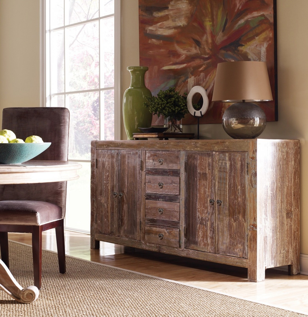 Beau Hampton Rustic Teak Wood Buffet Sideboard