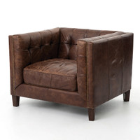 Abbott Vintage Cigar tufted leather club chair