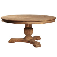 Carved Salvaged Pedestal Table 63&quot;
