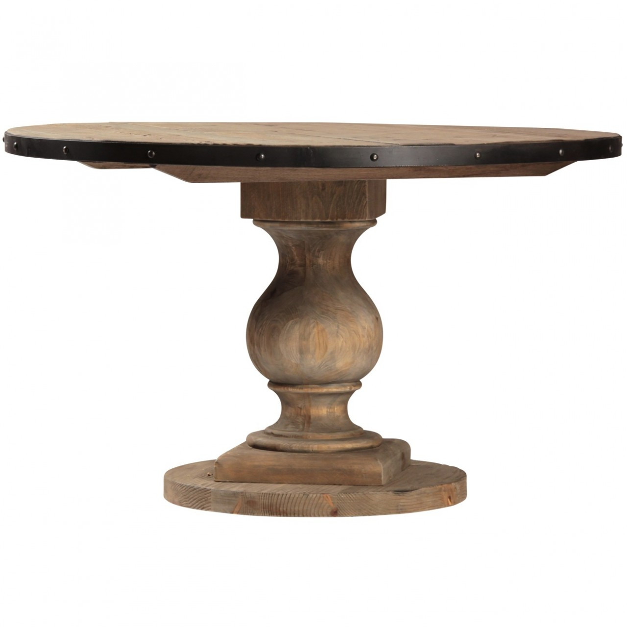 Farmhouse round pedestal dining room table 51quot zin home for Pedestal dining table