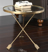 gold round side table with glass top