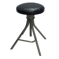 Black Croc Leather Adjustable Stool