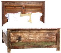 Shabby Chic Louvered Queen Bed