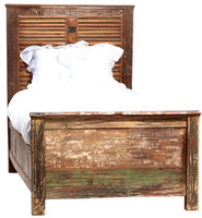 Shabby Chic Louvered Twin Bed