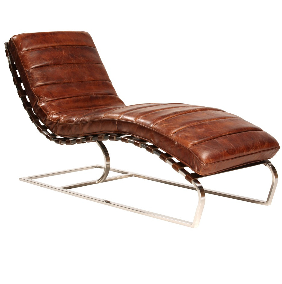 St james leather chaise cognac zin home for Chaise leather lounge