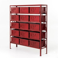 Industrial 15 Drawer Chest-Dark Red