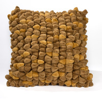 Pebble Chamois Pillow-Mustard