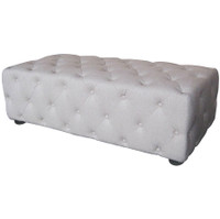 Soho Tufted Rectangle Ottoman- Linen