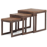 Civic Wood and Metal Coffee Nesting Tables