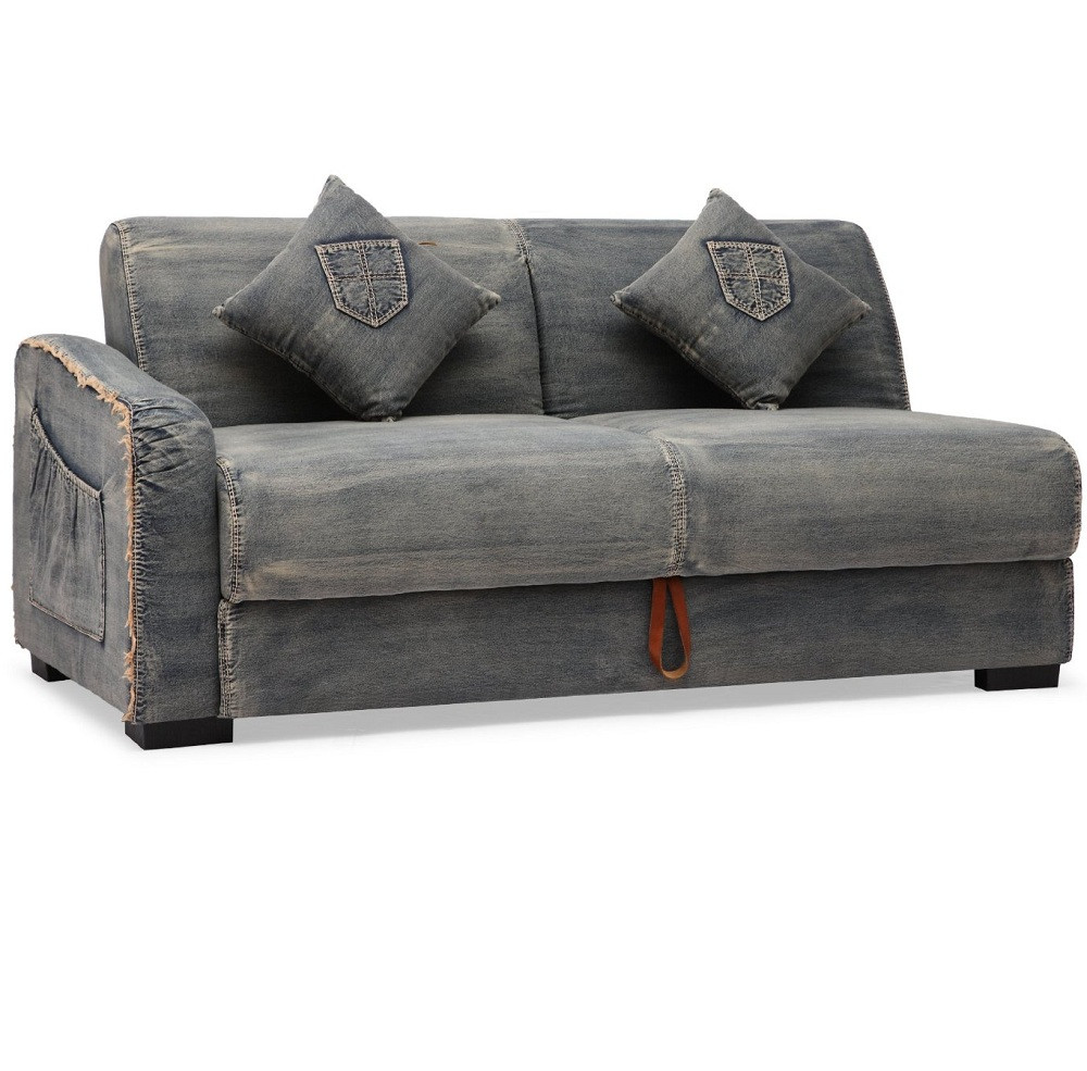 Colins denim sleeper sectional sofa zin home Sleeper sofa sectional