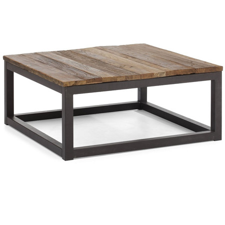 Home FURNITURE Living Room Civic Wood And Metal Square Coffee Table