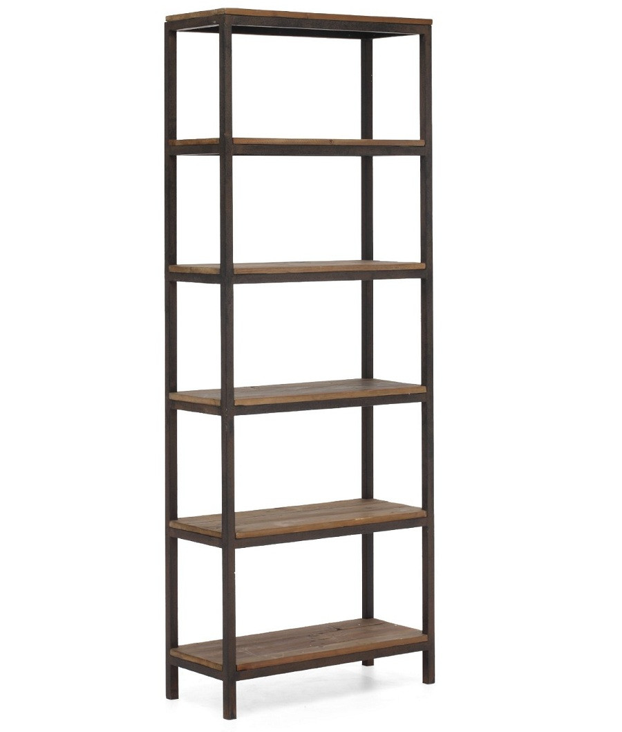 Home FURNITURE Living Room Civic Wood and Metal Bookshelf