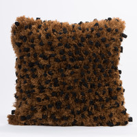 Fleece with Angel Hair Pillow- Black and Brown