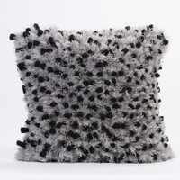 Fleece with Angel Hair Pillow- Black and Gray