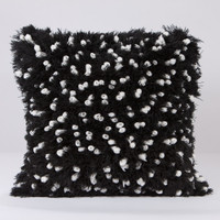 Fleece with Angel Hair Pillow- White and Black