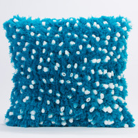 Fleece with Angel Hair Pillow- White and Teal
