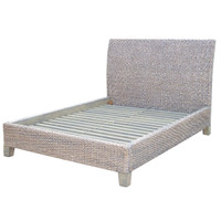 Banana Leaf Woven Platform Queen Bed