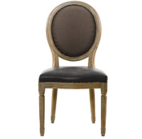 Louis Dining Side Chair in Brown Leather