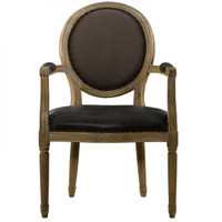 Louis Dining Chair in Brown Leather