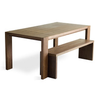 Plank Dining Table Set with Bench