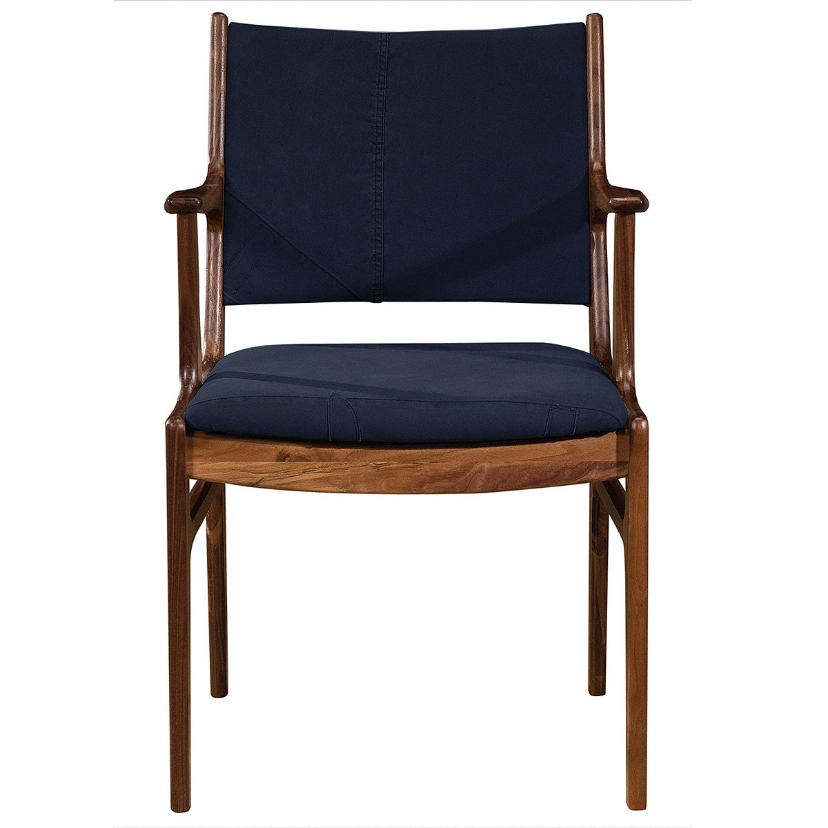 arm dining chair mid century modern bina arm dining chair blue canvas