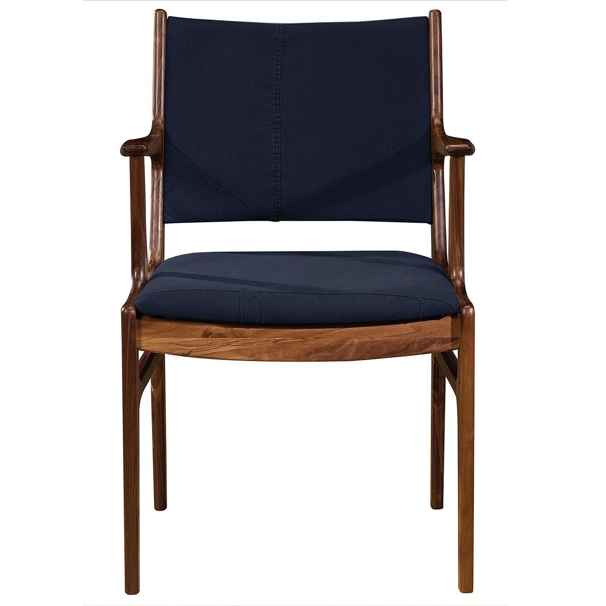 arm dining chair mid century modern bina arm dining chair blue canvas 44813