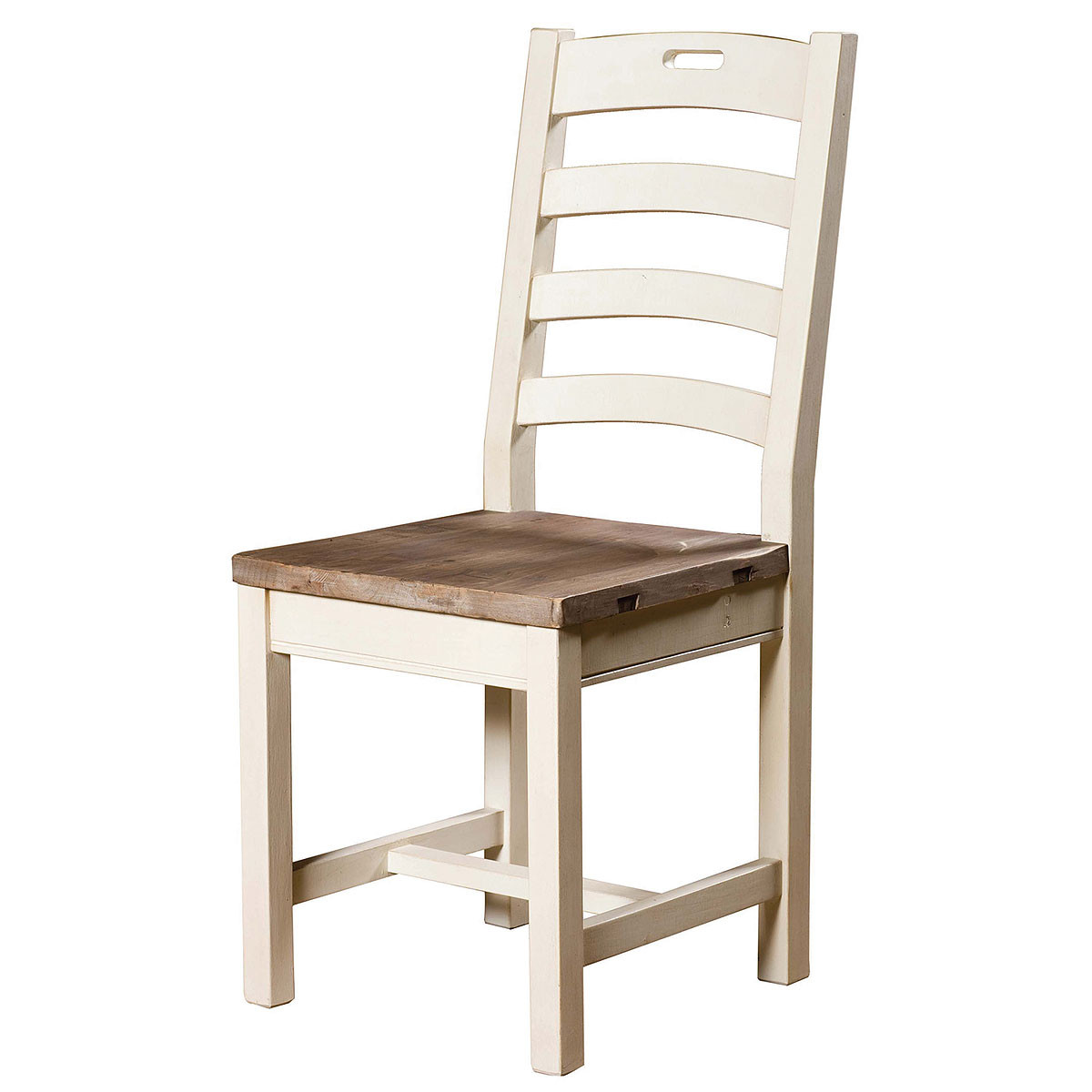 Cottage ladder back dining chair white zin home for White wood dining room chairs