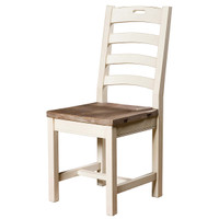 Cottage Ladder Back Dining Room Side Chair-White in Solid Wood
