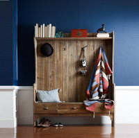 Rustic Reclaimed Wood entry bench with storage